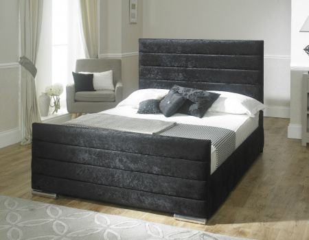 Sarah Modern Horizontal Line Bed Frame Set Available In Velvet