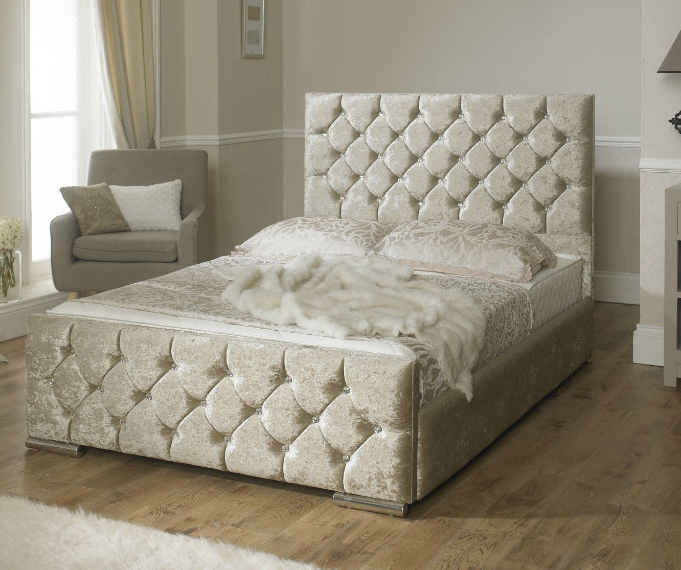 Monoco Bed Frame in Champagne,Silver Or Black Velvet With A Eligant Crystal Finish