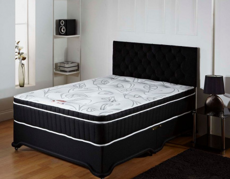 Bethany Black Bumper Memory Foam Divan Bed Set 1500 Pocket Spring Count
