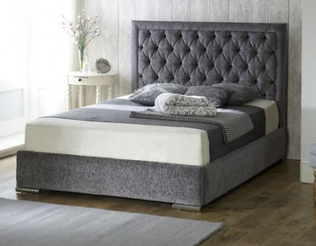 Chelsea Chesterfield Chenille Bed Frame And Mattress Set