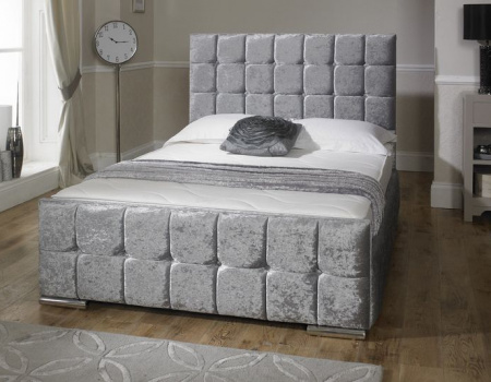Navada Cube Button Bed Frame Available In Crush Velvet or Chenille