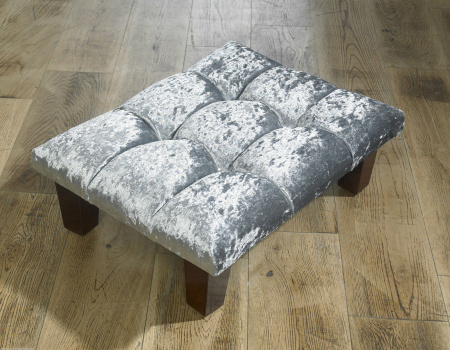 Silver Crushed Velvet Foot Stool