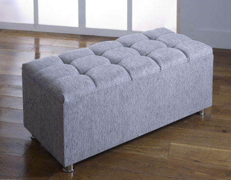 Cubed Grey Chenille  Ottoman Toy Storage Blanket Box