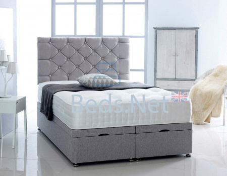 Silver Chenille Ottoman Divan Bed With Headboard & Mattress Option