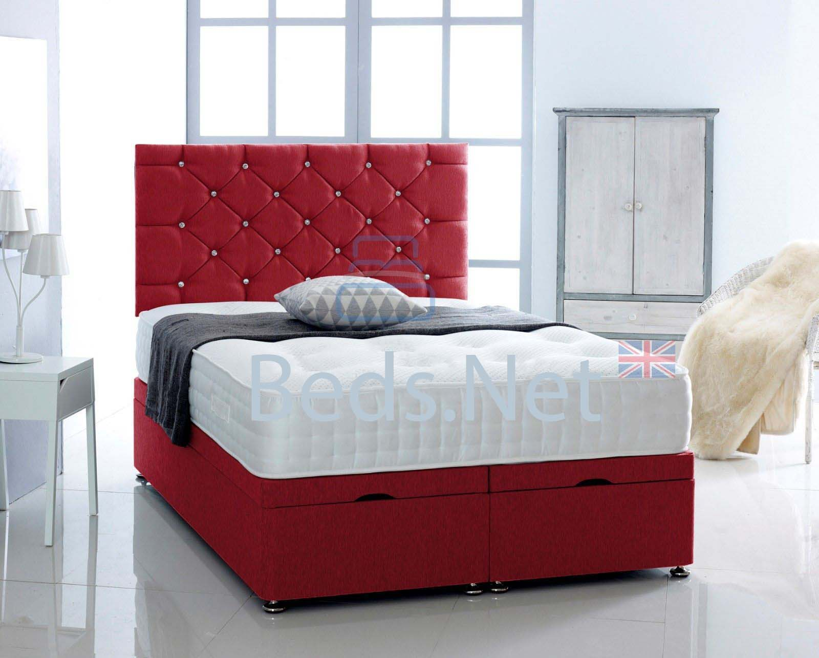 Red Chenille Ottoman Divan Bed With Headboard & Mattress Option