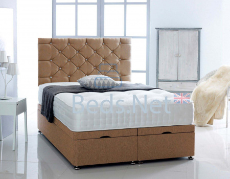 Mink Chenille Ottoman Divan Bed With Headboard & Mattress Option