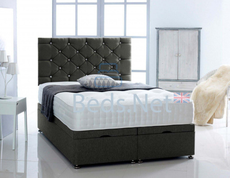 Black Chenille Ottoman Divan Bed With Headboard & Mattress Option
