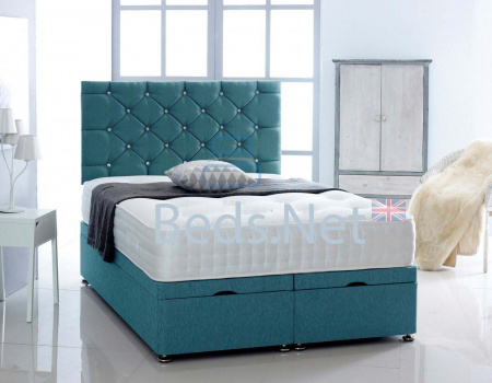 Aqua Chenille Ottoman Divan Bed With Headboard & Mattress Option