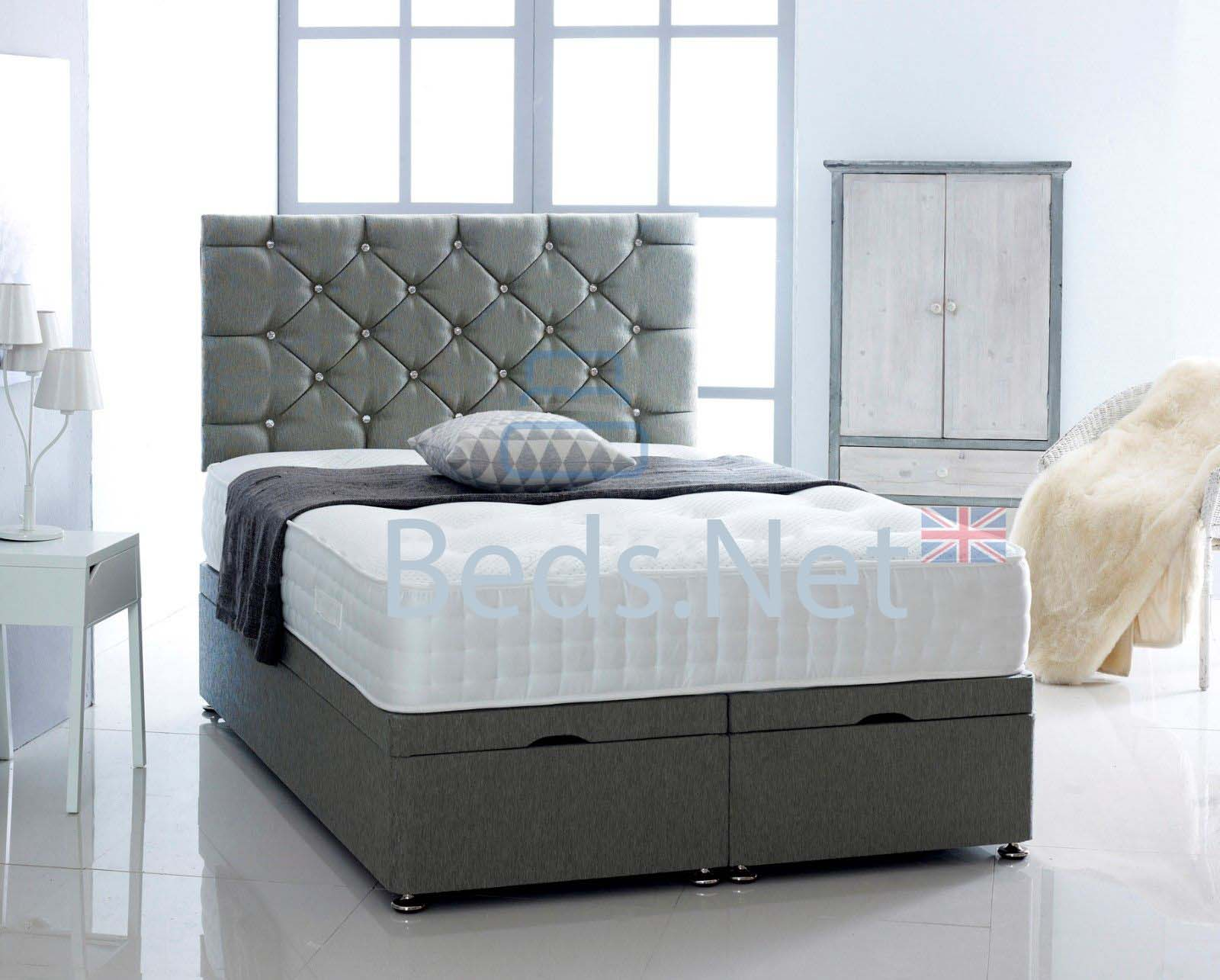 Charcoal Chenille Ottoman Divan Bed With Headboard & Mattress Option