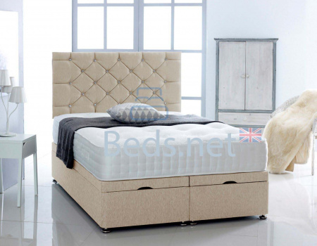Cream Chenille Ottoman Divan Bed With Headboard & Mattress Option