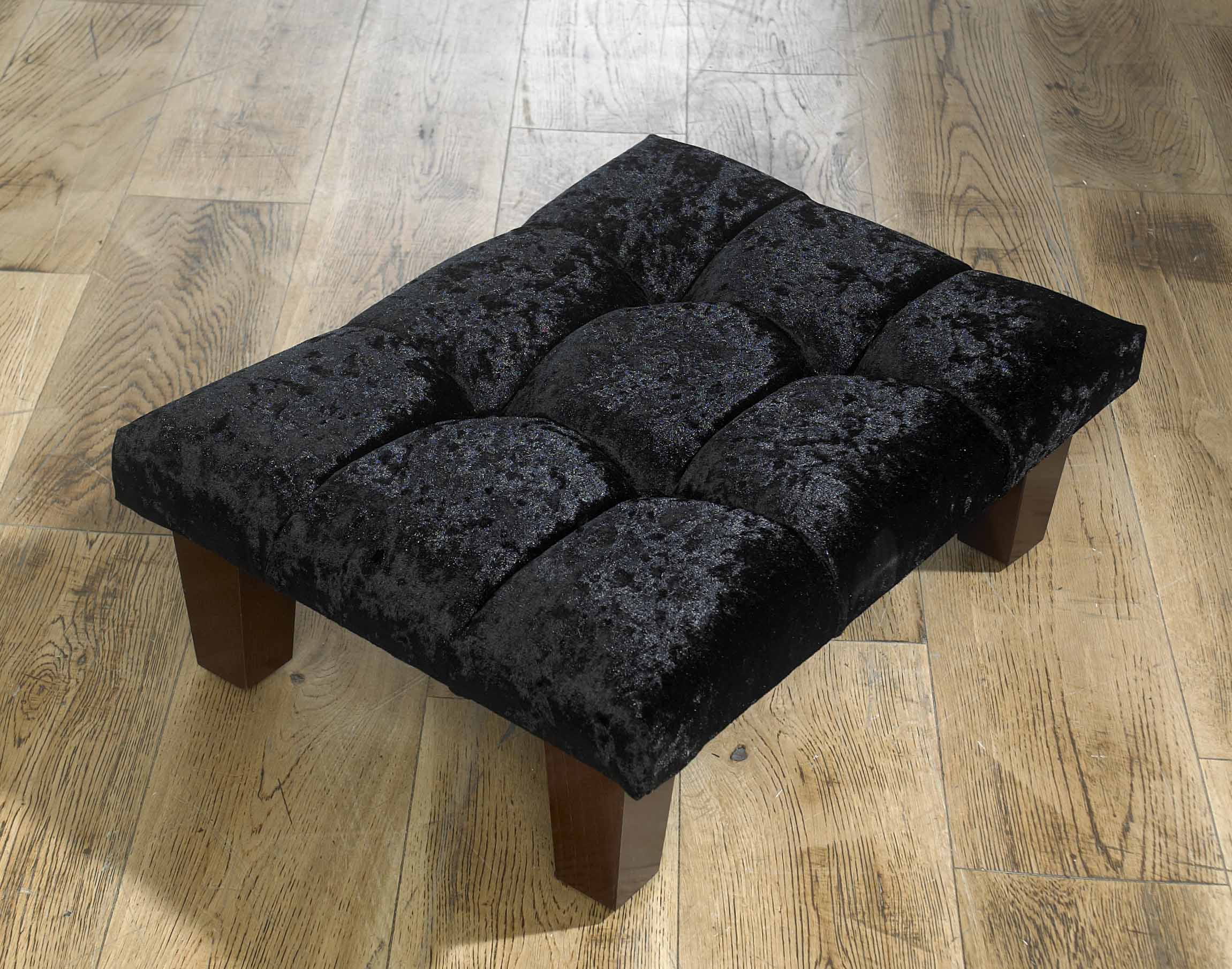 Black Crushed Velvet Foot Stool