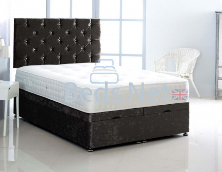 Black Crushed Velvet Ottoman Divan Bed With Headboard & Mattress Option