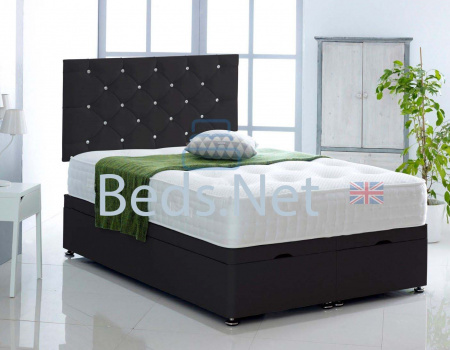 Black Faux Leather Ottoman Divan Bed With Headboard & Mattress Option