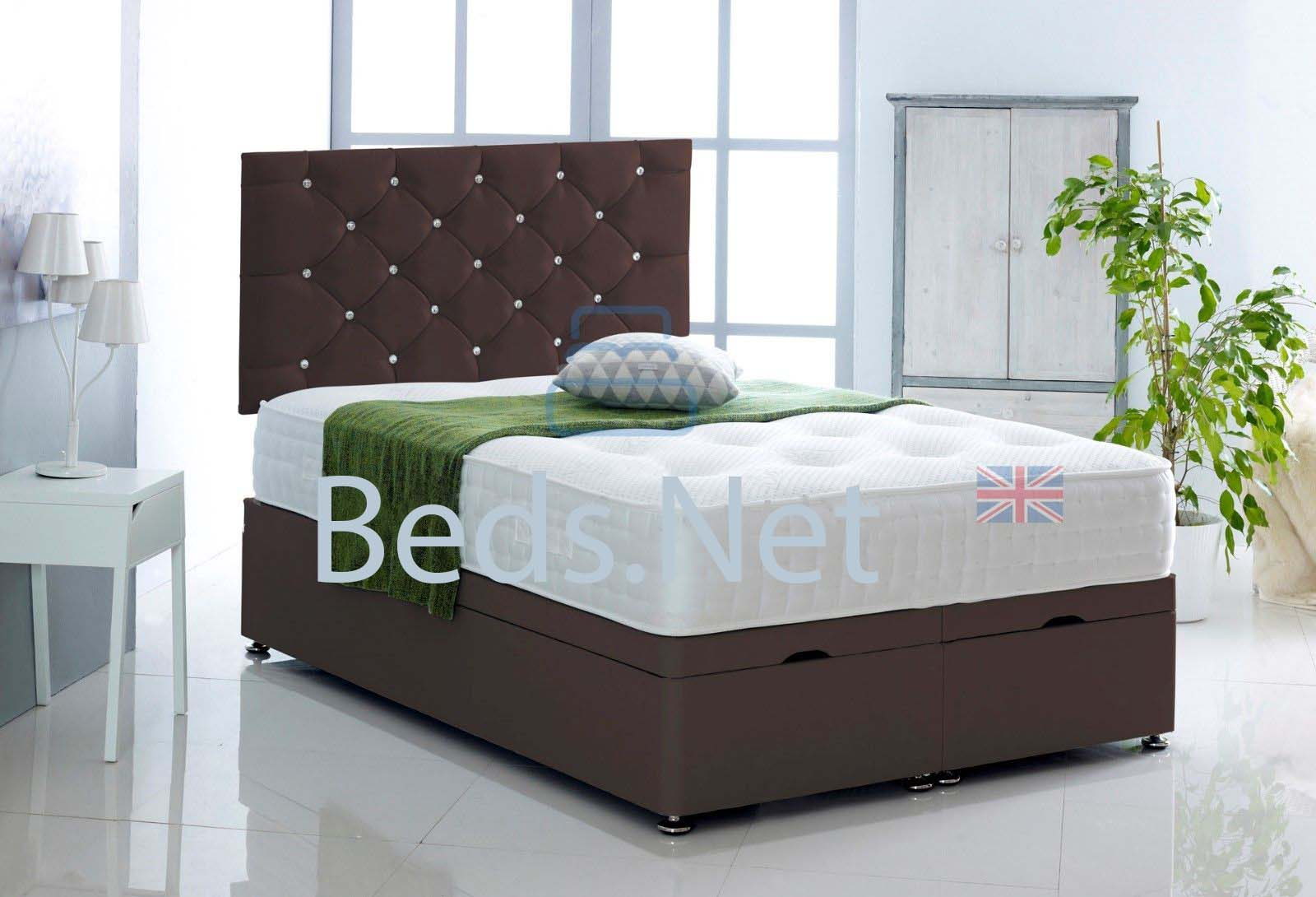 Brown Faux Leather Ottoman Divan Bed With Headboard & Mattress Option