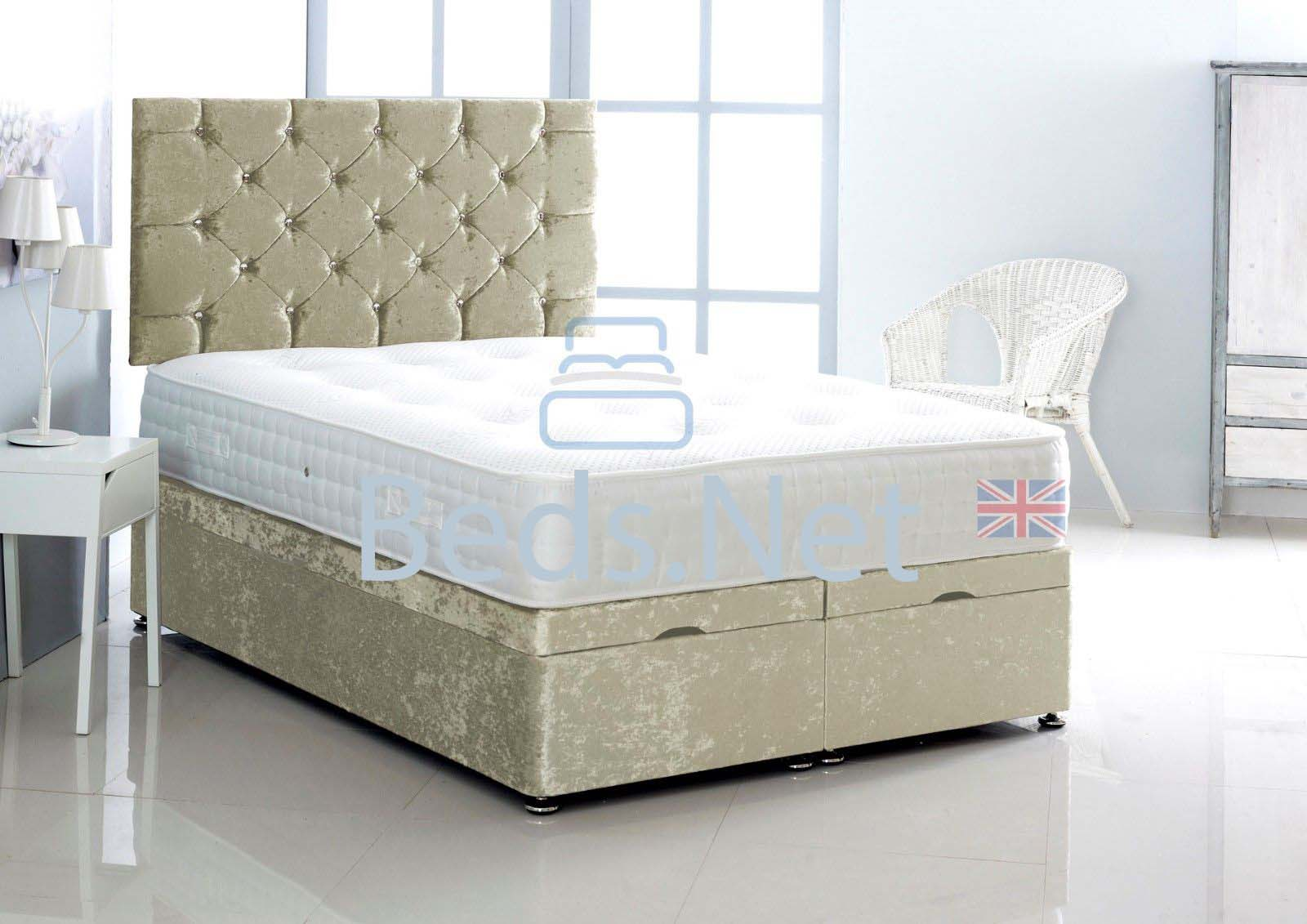 Champagne Crushed Velvet Ottoman Divan Bed With Headboard & Mattress Option
