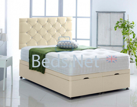 Cream Faux Leather Ottoman Divan Bed With Headboard & Mattress Option