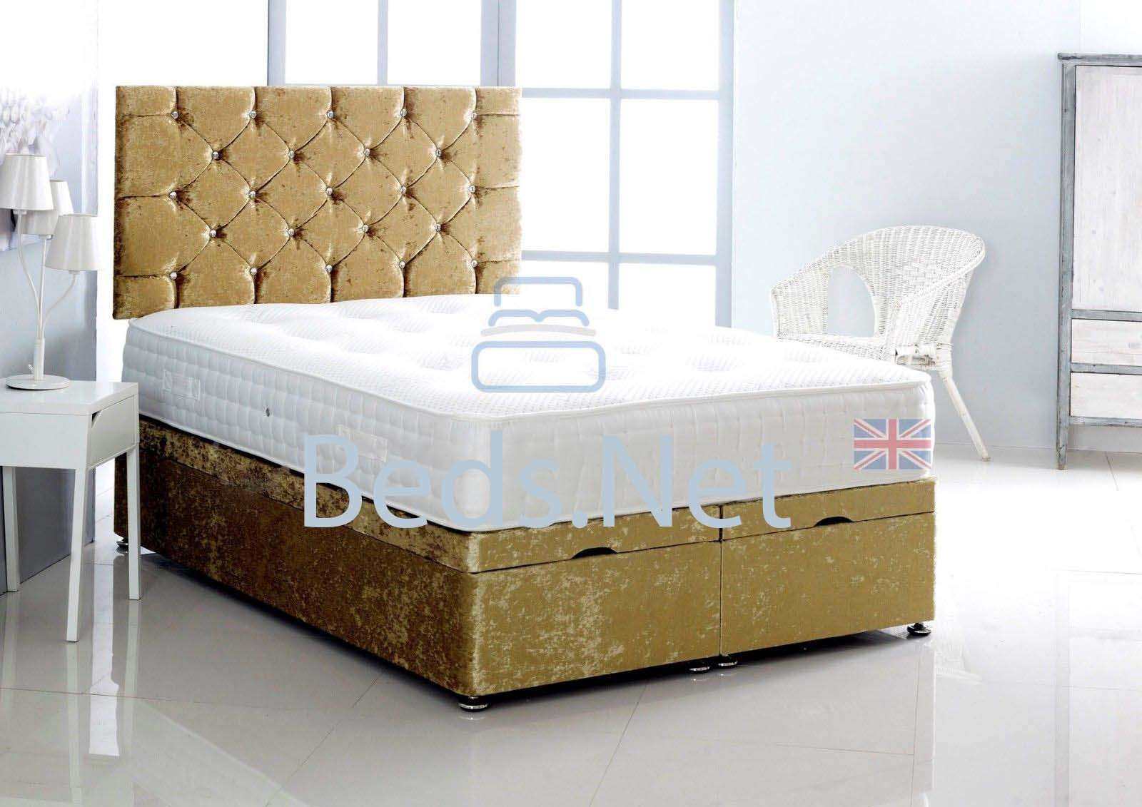 Gold Crushed Velvet Ottoman Divan Bed With Headboard & Mattress Option