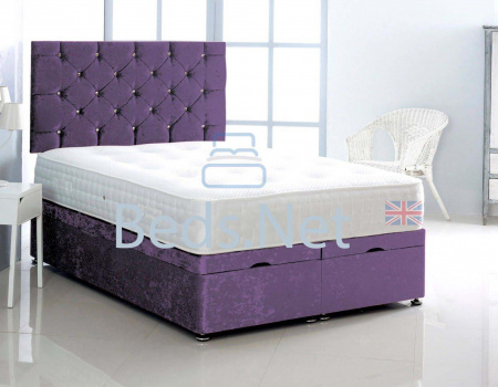 Purple Crushed Velvet Ottoman Divan Bed With Headboard & Mattress Option