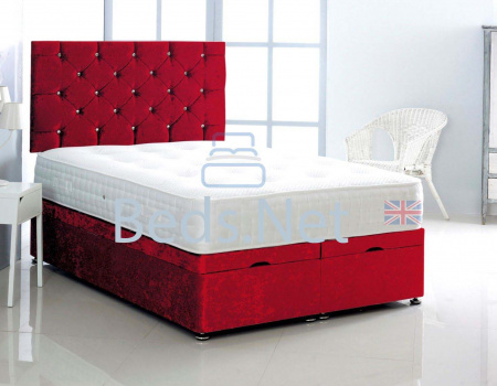 Red Crushed Velvet Ottoman Divan Bed With Headboard & Mattress Option