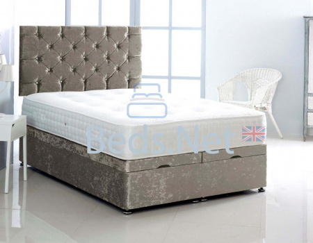 Silver Crushed Velvet Ottoman Divan Bed With Headboard & Mattress Option