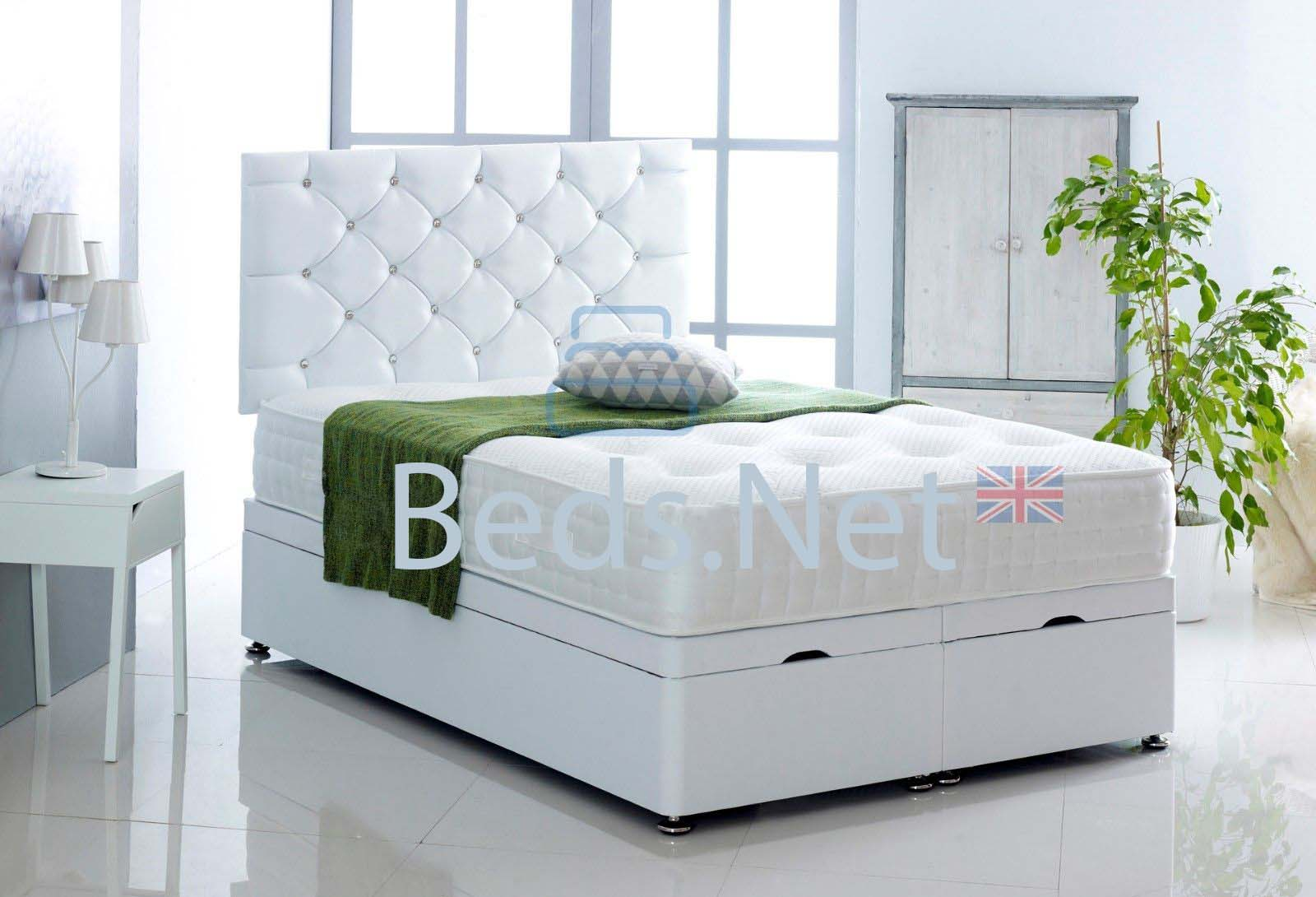 White Faux Leather Ottoman Divan Bed With Headboard & Mattress Option