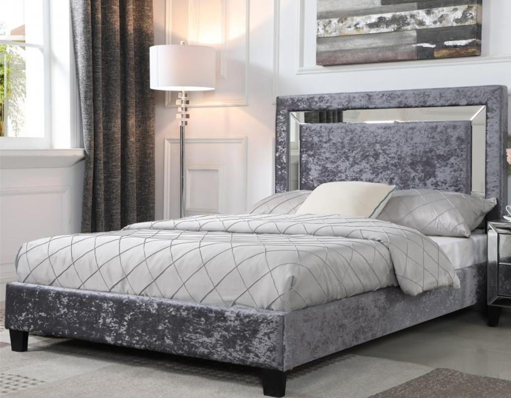 Augustine Crushed Velvet Bed With Mirror Effect Headboard