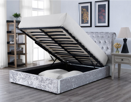 Casablanca Storage Bed frame In Crushed Velvet Grey