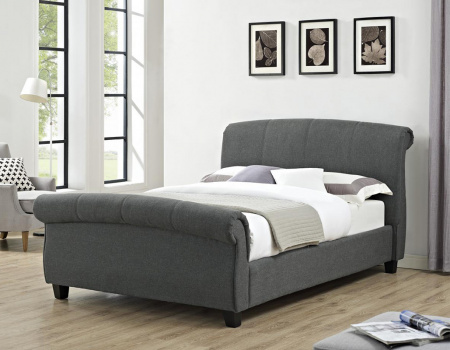 Arabella Grey Linen Fabric Scroll Sleigh Bed