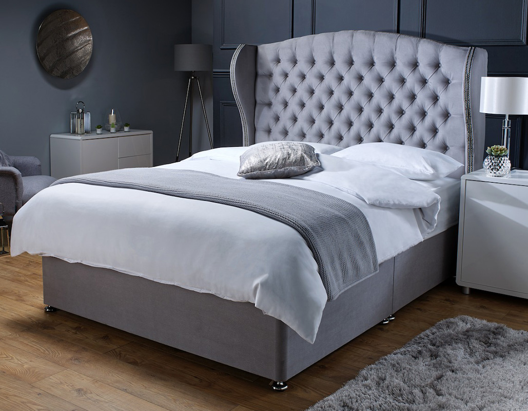 Charlotte Grey Suede Memory Foam Open Coil Divan Bed With Wing Back Headboard