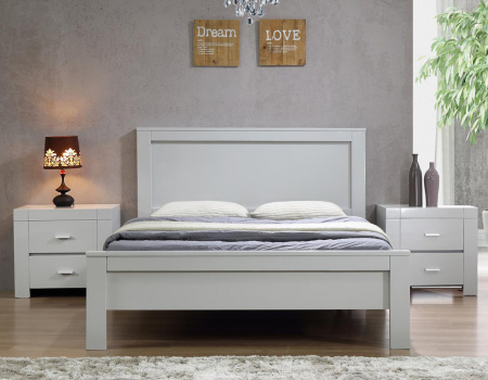 California Double or King Grey Wooden Bed