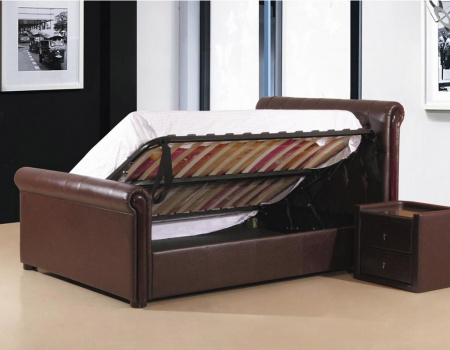 Caxton Faux Leather Right Side Lift Ottoman Bed