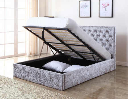 Yasmine Silver Crushed Velvet Ottoman Bed