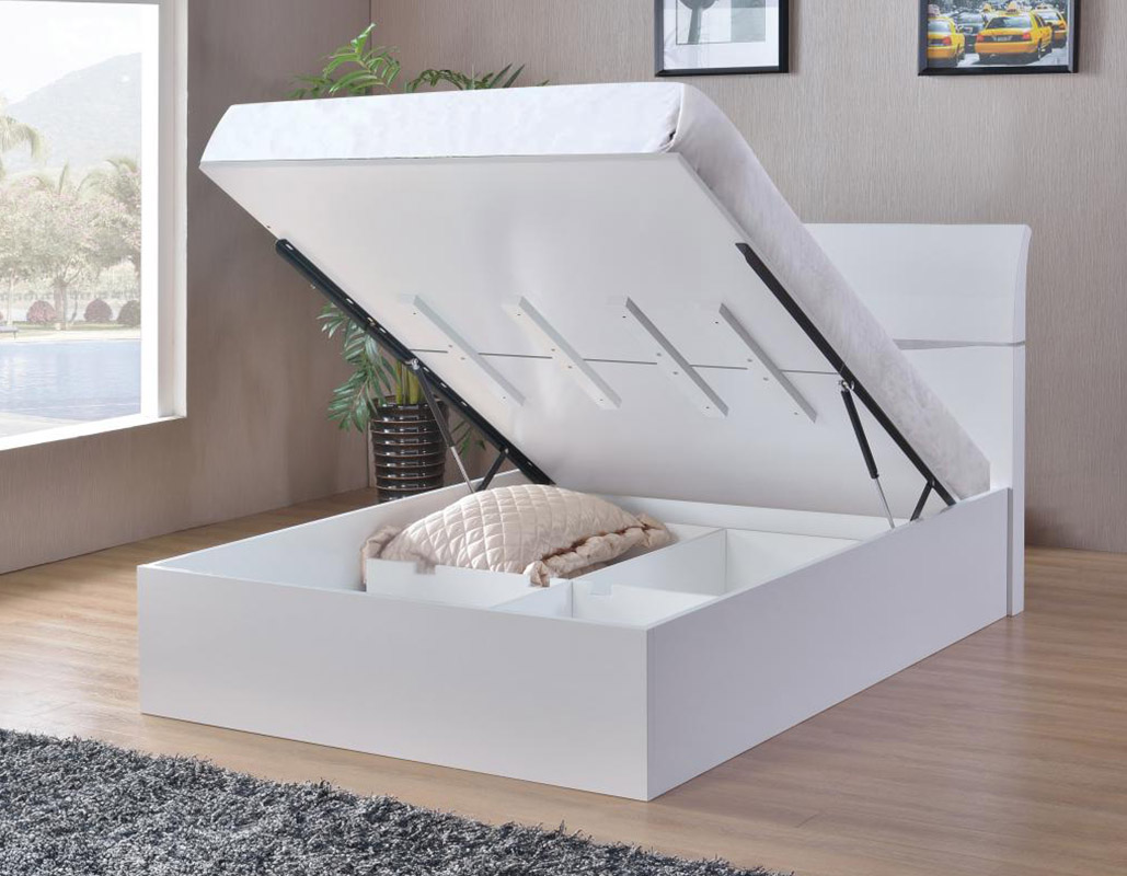 Picture of: Arden White High Gloss Storage Bed Beds Net