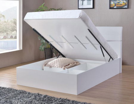 Arden White High Gloss Storage Bed
