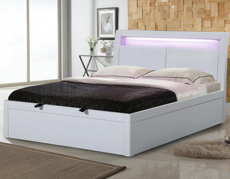 Tania White High Gloss Storage Bed