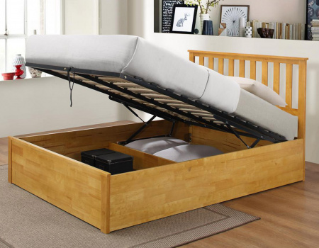 Zoe Rubber Wood Ottoman Storage Bed In Oak Or White