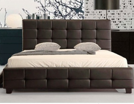 Lattice Faux Leather Bed In Black Or White