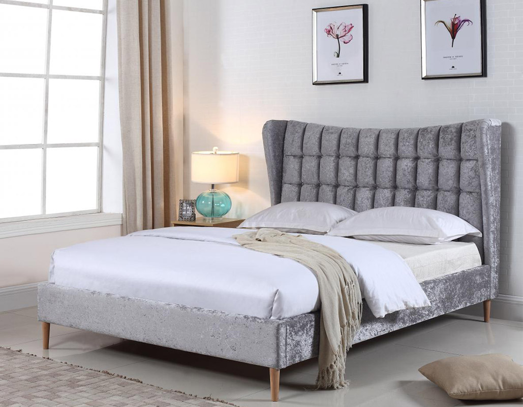 Mahala Silver Crushed Velvet Bed Set