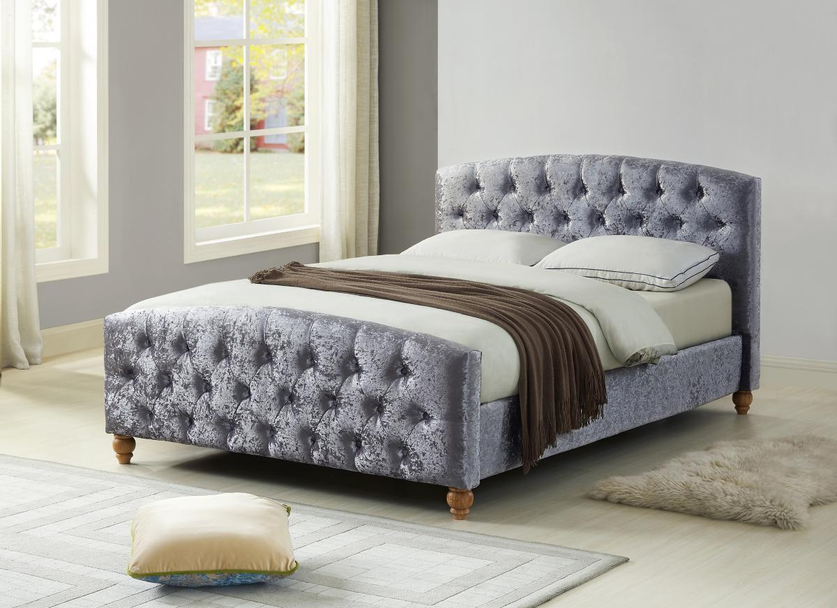 Millbrook Silver Crushed Velvet Bed Set