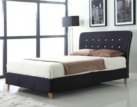 Nina Black Linen Fabric Bed Set