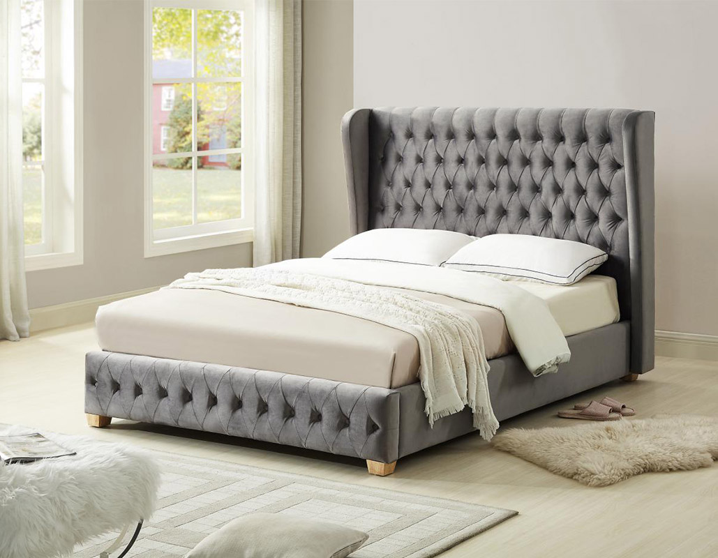 Anderston Silver Velvet Wing Back Bed