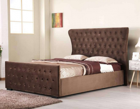 Nectarine Brown Wing Back Bed Frame