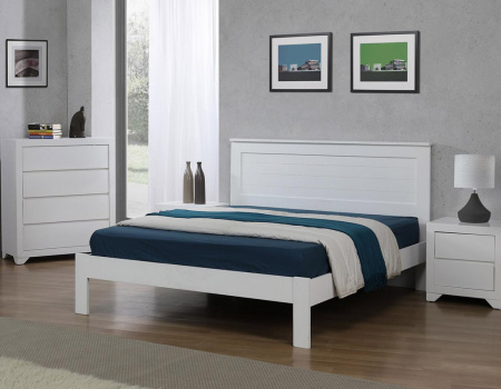 Etna White Solid Wooden Bed Set