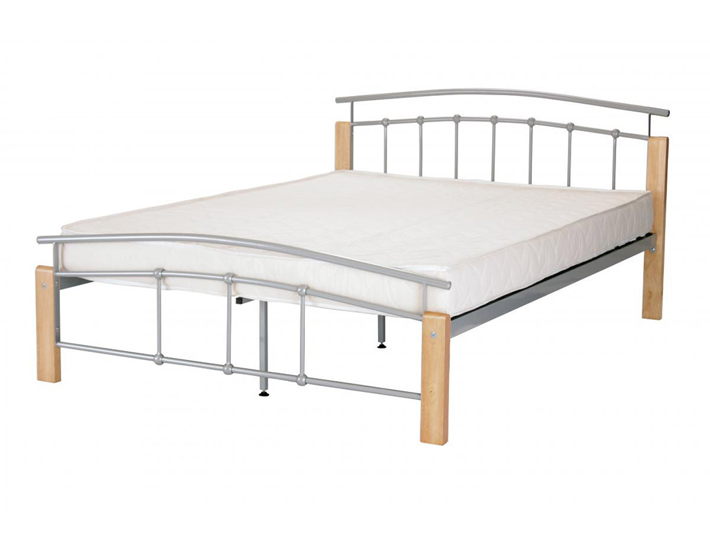 Tetras Metal Bed Frame With Beech Wood Finish
