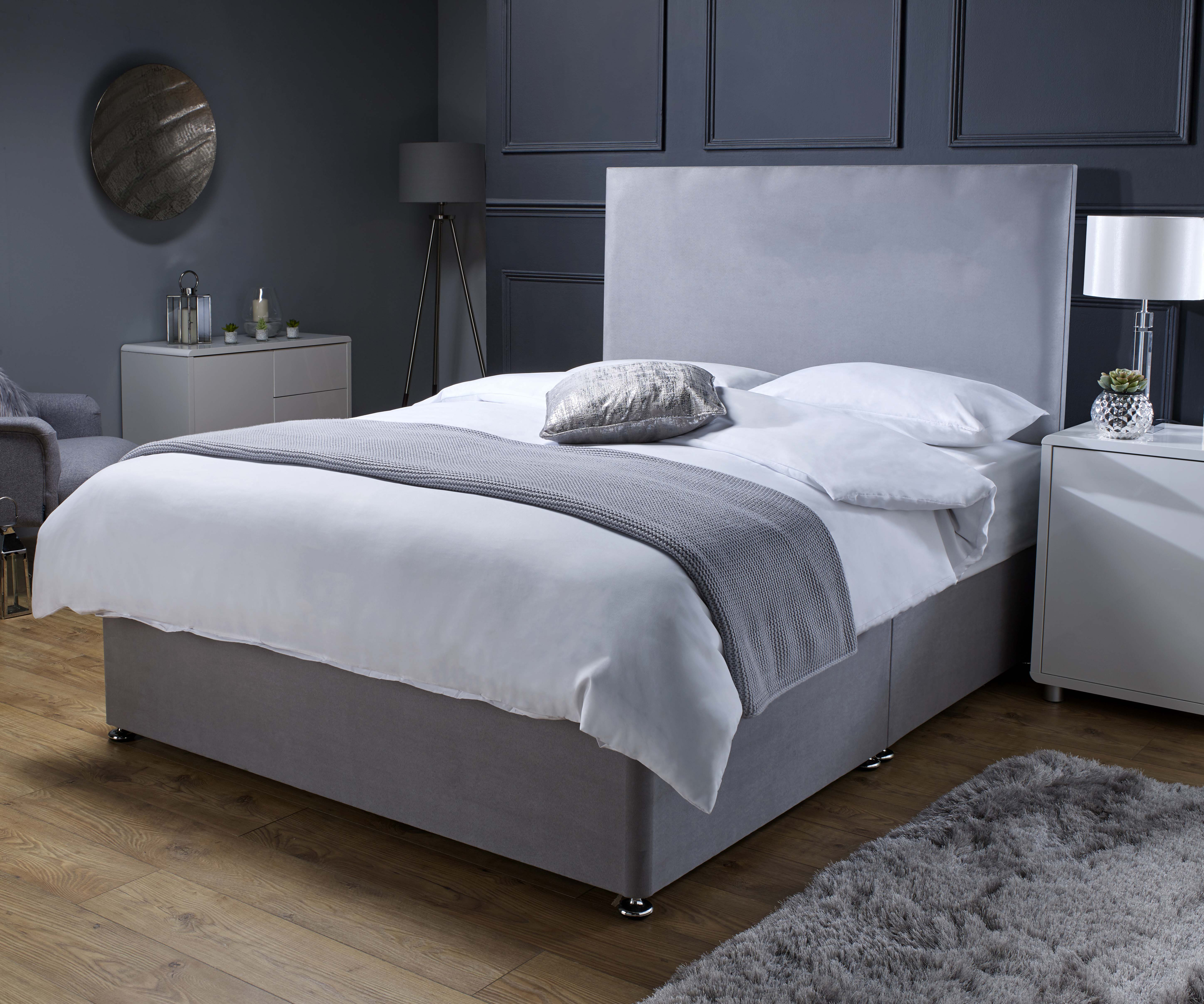 Picture of: Edward Grey Divan Bed With Memory Foam Sprung Mattress Storage Option Available Beds Net