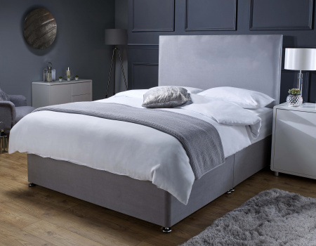 Edward Grey Divan Bed With Memory Foam Sprung Mattress Storage Option Available