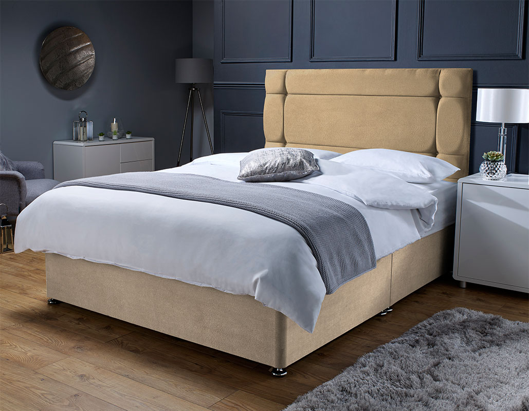 York Memory Foam Sprung Suede Divan Bed Set